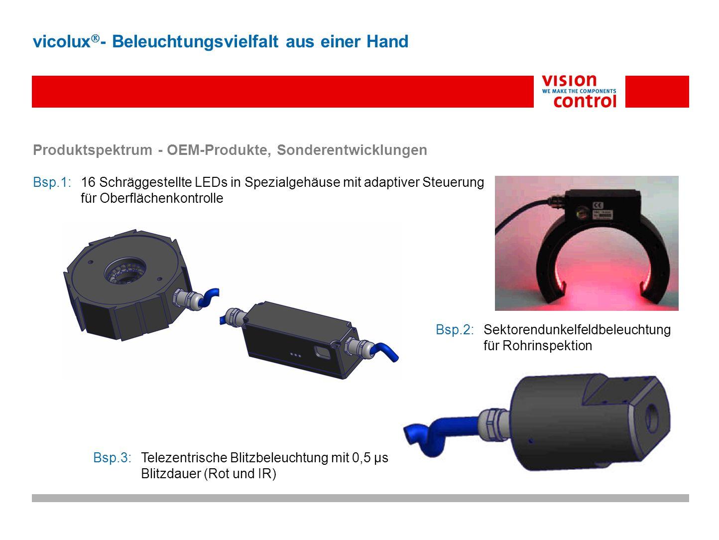 Bsp.2:Sektorendunkelfeldbeleuchtung für Rohrinspektion Produktspektrum - OEM-Produkte, Sonderentwicklungen Bsp.1:16 Schräggestellte LEDs in Spezialgeh