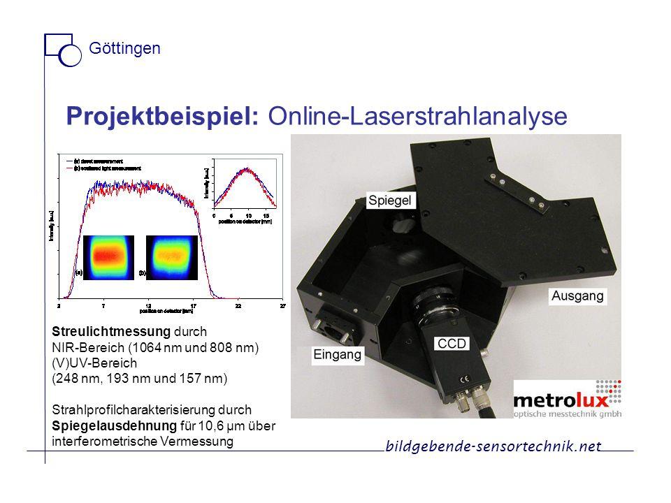 Projektbeispiel: Online-Laserstrahlanalyse Streulichtmessung durch NIR-Bereich (1064 nm und 808 nm) (V)UV-Bereich (248 nm, 193 nm und 157 nm) Strahlpr