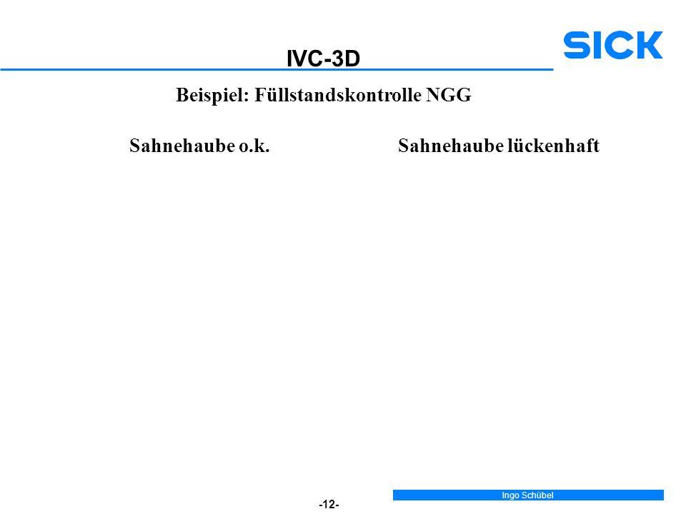 Ingo Schübel -12- Beispiel: Füllstandskontrolle NGG IVC-3D Sahnehaube o.k.Sahnehaube lückenhaft