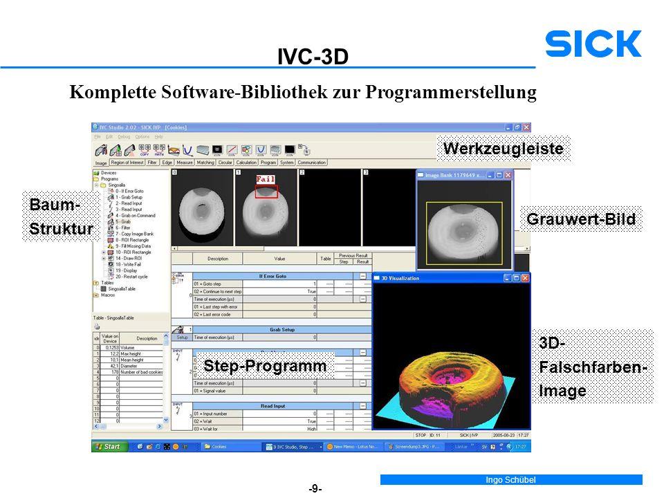 Ingo Schübel -9- Komplette Software-Bibliothek zur Programmerstellung Werkzeugleiste Step-Programm Baum- Struktur Grauwert-Bild 3D- Falschfarben- Image IVC-3D