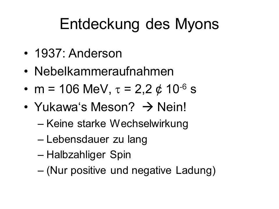 Entdeckung des Myons 1937: Anderson Nebelkammeraufnahmen m = 106 MeV, = 2,2 ¢ 10 -6 s Yukawas Meson? Nein! –Keine starke Wechselwirkung –Lebensdauer z