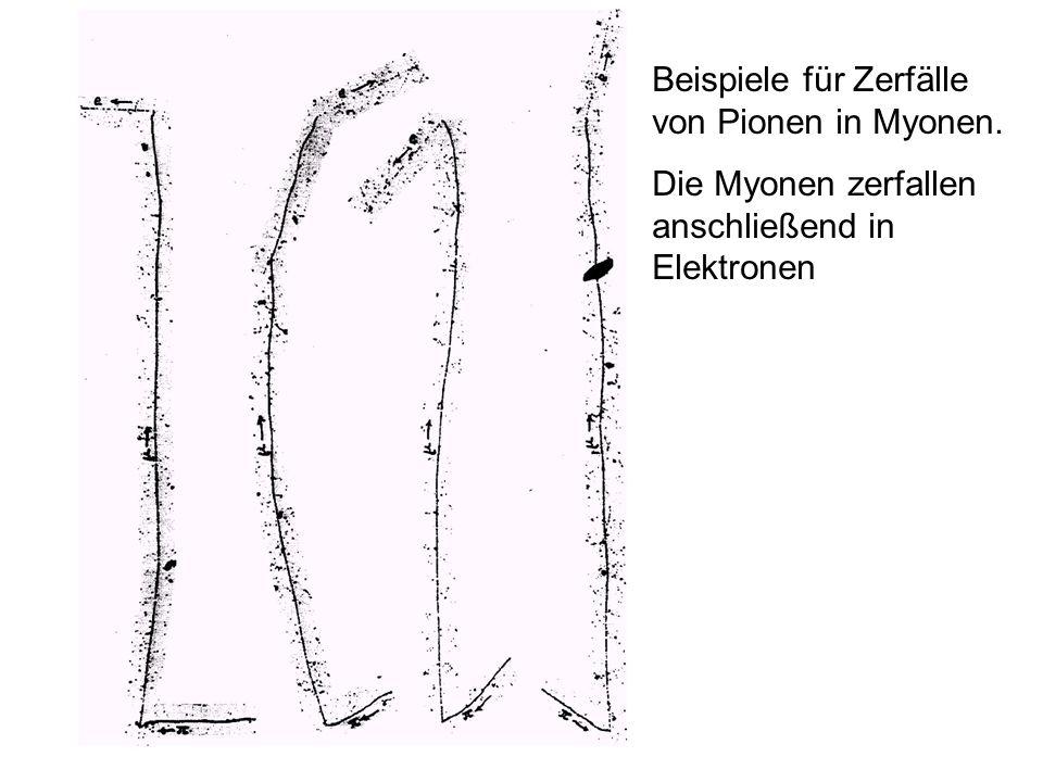 Beispiele für Zerfälle von Pionen in Myonen. Die Myonen zerfallen anschließend in Elektronen
