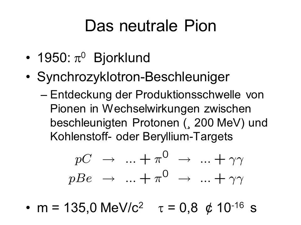Das neutrale Pion 1950: 0 Bjorklund Synchrozyklotron-Beschleuniger –Entdeckung der Produktionsschwelle von Pionen in Wechselwirkungen zwischen beschle