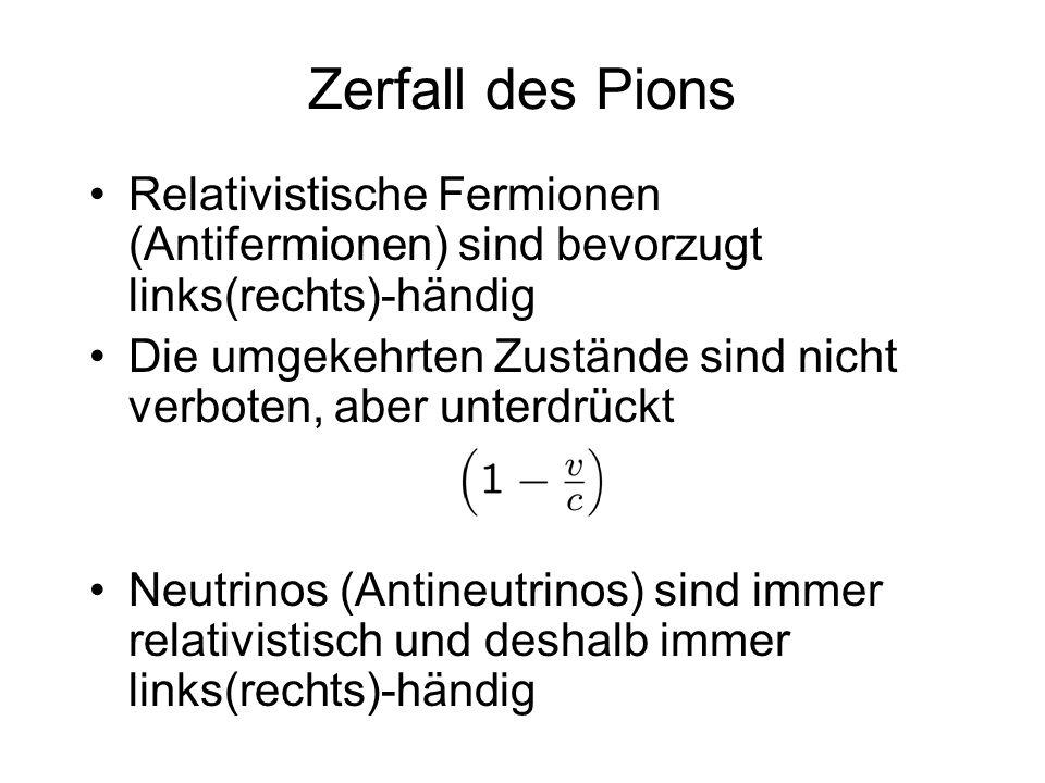Zerfall des Pions Relativistische Fermionen (Antifermionen) sind bevorzugt links(rechts)-händig Die umgekehrten Zustände sind nicht verboten, aber unt