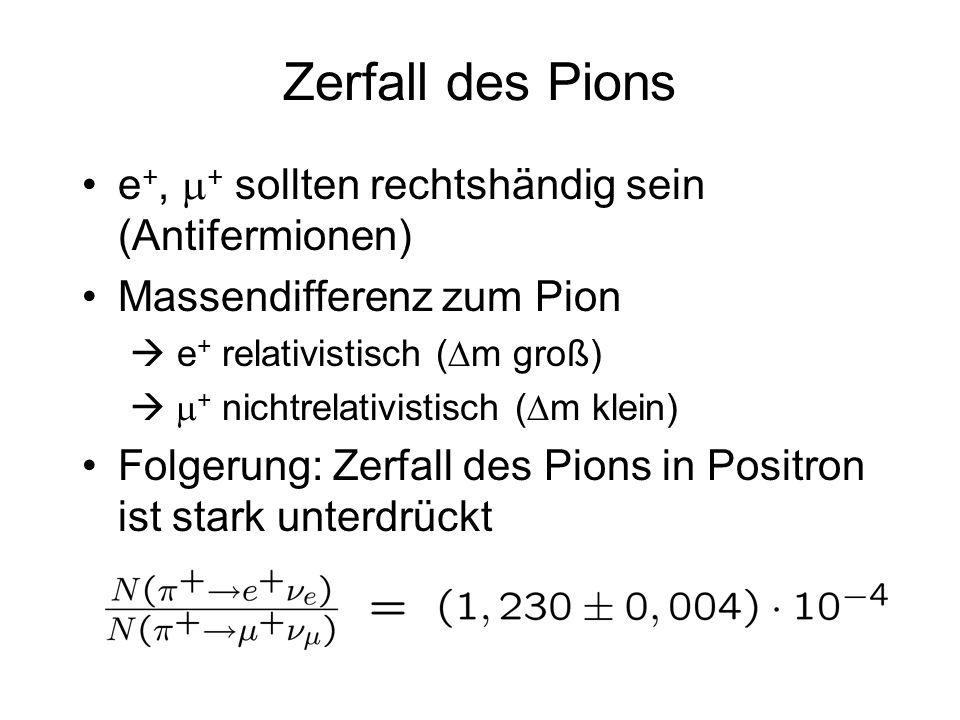 Zerfall des Pions e +, + sollten rechtshändig sein (Antifermionen) Massendifferenz zum Pion e + relativistisch ( m groß) + nichtrelativistisch ( m kle