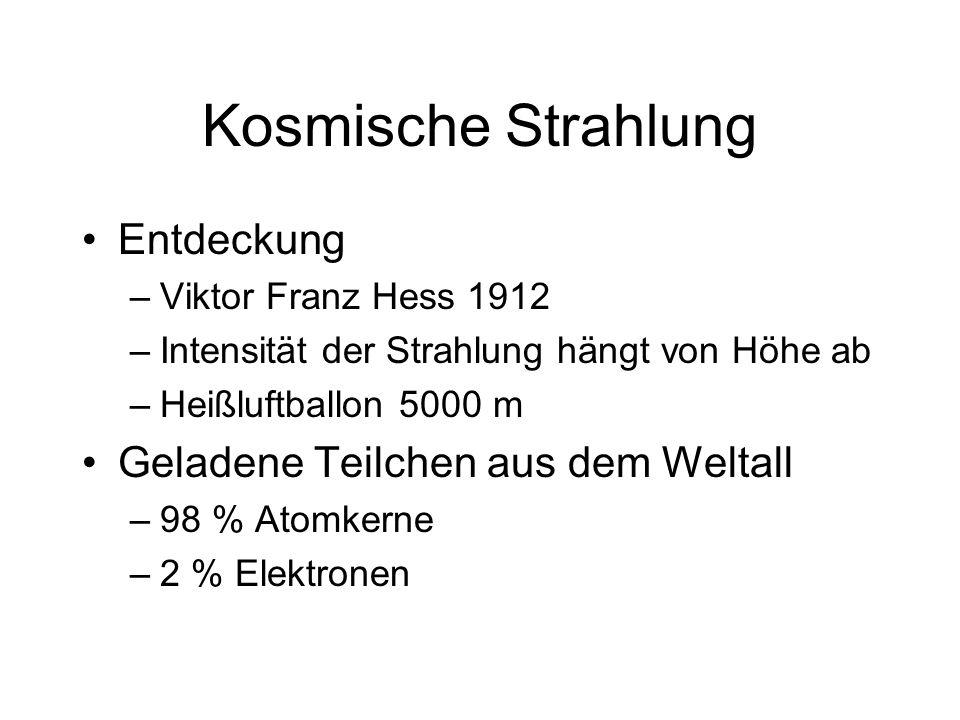 Kosmische Strahlung Entdeckung –Viktor Franz Hess 1912 –Intensität der Strahlung hängt von Höhe ab –Heißluftballon 5000 m Geladene Teilchen aus dem We