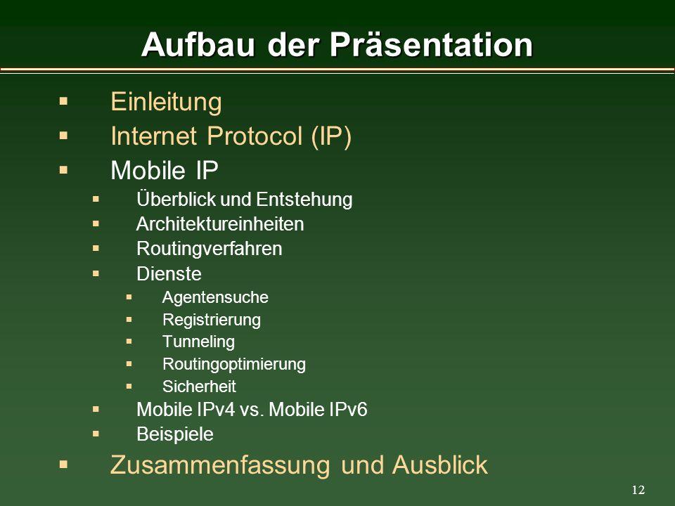 12 Aufbau der Präsentation Einleitung Internet Protocol (IP) Mobile IP Überblick und Entstehung Architektureinheiten Routingverfahren Dienste Agentensuche Registrierung Tunneling Routingoptimierung Sicherheit Mobile IPv4 vs.
