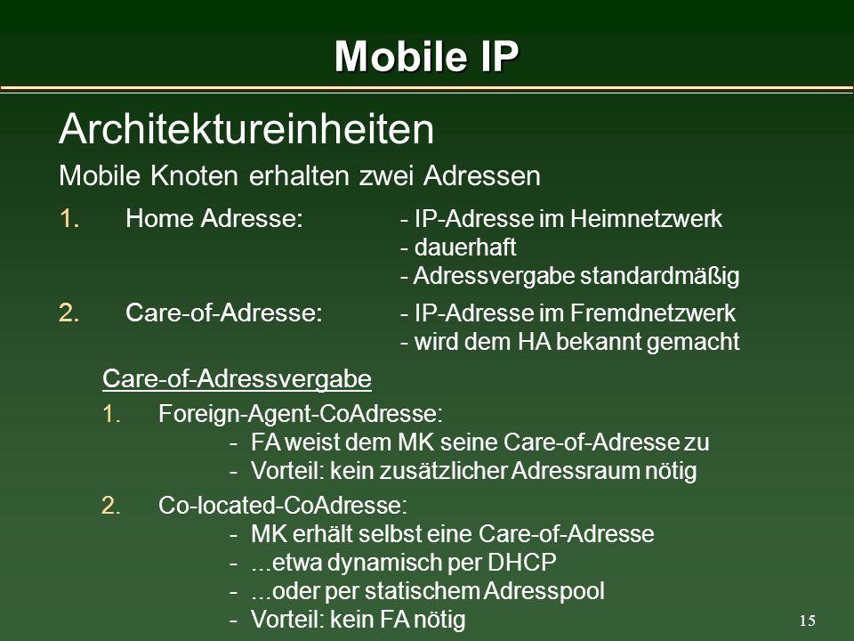 15 Mobile IP Architektureinheiten Mobile Knoten erhalten zwei Adressen 1.Home Adresse: - IP-Adresse im Heimnetzwerk - dauerhaft - Adressvergabe standardmäßig 2.Care-of-Adresse: - IP-Adresse im Fremdnetzwerk - wird dem HA bekannt gemacht Care-of-Adressvergabe 1.Foreign-Agent-CoAdresse: - FA weist dem MK seine Care-of-Adresse zu - Vorteil: kein zusätzlicher Adressraum nötig 2.Co-located-CoAdresse: - MK erhält selbst eine Care-of-Adresse -...etwa dynamisch per DHCP -...oder per statischem Adresspool - Vorteil: kein FA nötig