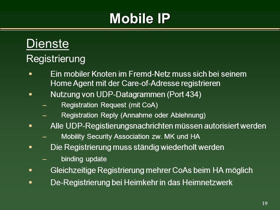 19 Mobile IP Ein mobiler Knoten im Fremd-Netz muss sich bei seinem Home Agent mit der Care-of-Adresse registrieren Nutzung von UDP-Datagrammen (Port 434) –Registration Request (mit CoA) –Registration Reply (Annahme oder Ablehnung) Alle UDP-Registierungsnachrichten müssen autorisiert werden –Mobility Security Association zw.
