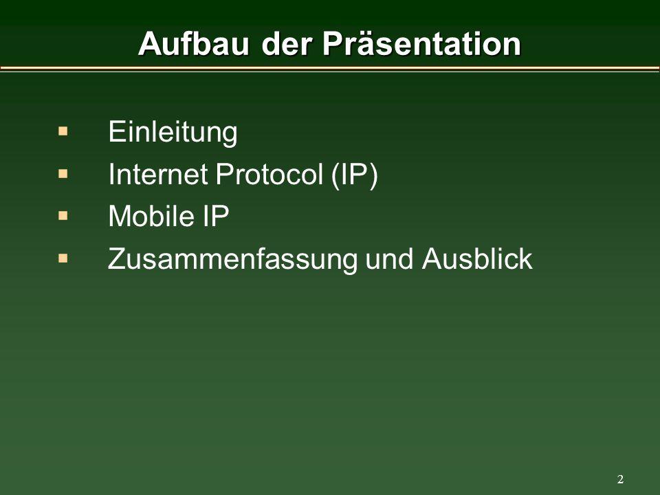 2 Aufbau der Präsentation Einleitung Internet Protocol (IP) Mobile IP Zusammenfassung und Ausblick