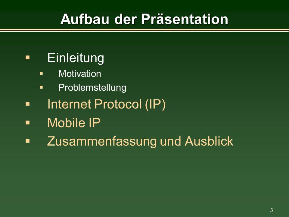 3 Aufbau der Präsentation Einleitung Motivation Problemstellung Internet Protocol (IP) Mobile IP Zusammenfassung und Ausblick