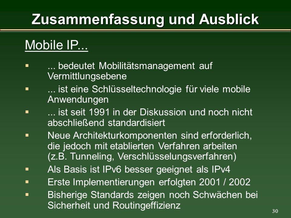 30 Zusammenfassung und Ausblick Mobile IP......