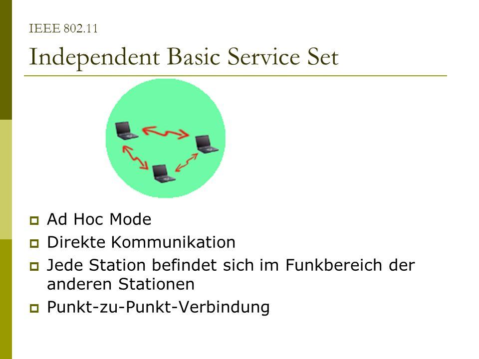 IEEE 802.11 Independent Basic Service Set Ad Hoc Mode Direkte Kommunikation Jede Station befindet sich im Funkbereich der anderen Stationen Punkt-zu-P
