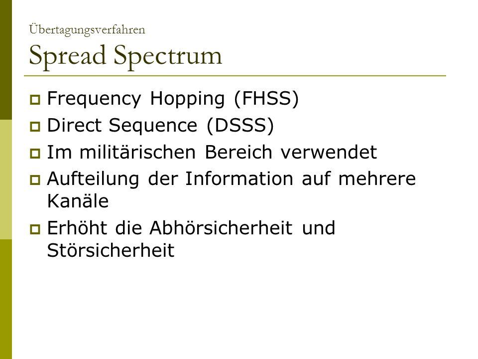Übertagungsverfahren Spread Spectrum Frequency Hopping (FHSS) Direct Sequence (DSSS) Im militärischen Bereich verwendet Aufteilung der Information auf