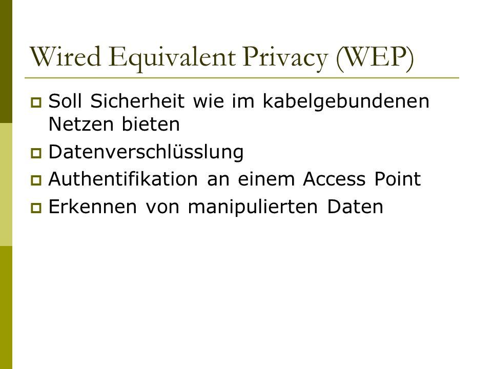 Wired Equivalent Privacy (WEP) Soll Sicherheit wie im kabelgebundenen Netzen bieten Datenverschlüsslung Authentifikation an einem Access Point Erkennen von manipulierten Daten