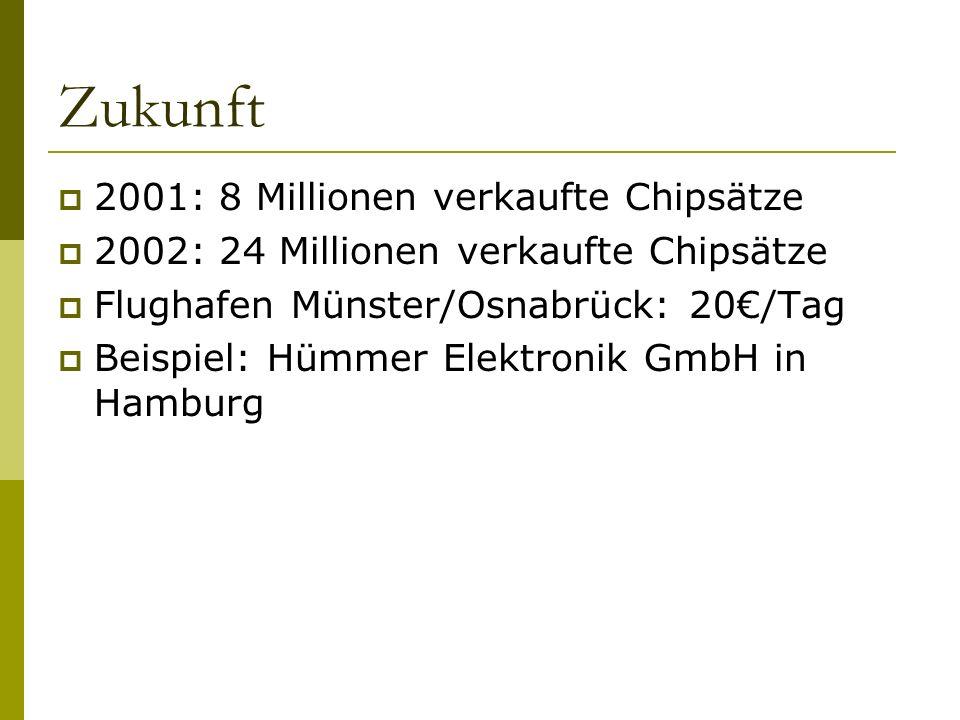 Zukunft 2001: 8 Millionen verkaufte Chipsätze 2002: 24 Millionen verkaufte Chipsätze Flughafen Münster/Osnabrück: 20/Tag Beispiel: Hümmer Elektronik GmbH in Hamburg