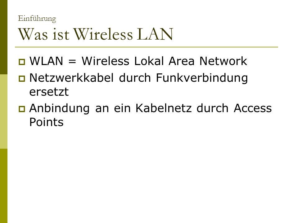 Einführung Was ist Wireless LAN WLAN = Wireless Lokal Area Network Netzwerkkabel durch Funkverbindung ersetzt Anbindung an ein Kabelnetz durch Access Points