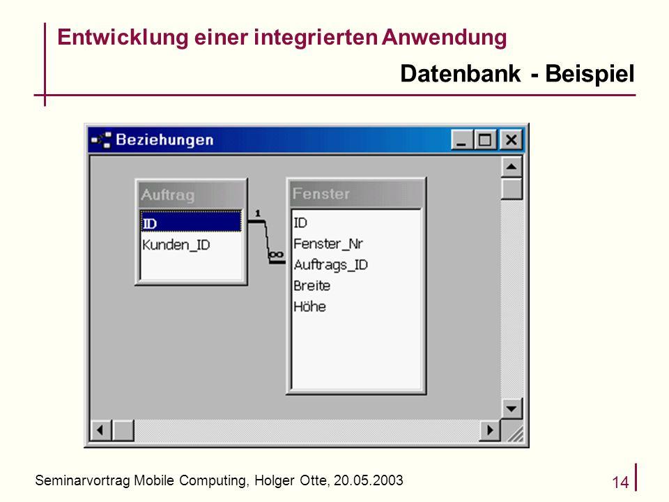 Seminarvortrag Mobile Computing, Holger Otte, 20.05.2003 14 Datenbank - Beispiel Entwicklung einer integrierten Anwendung