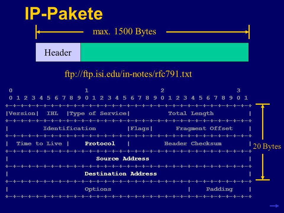 IP-Pakete max. 1500 Bytes Header 0 1 2 3 0 1 2 3 4 5 6 7 8 9 0 1 2 3 4 5 6 7 8 9 0 1 2 3 4 5 6 7 8 9 0 1 +-+-+-+-+-+-+-+-+-+-+-+-+-+-+-+-+-+-+-+-+-+-+
