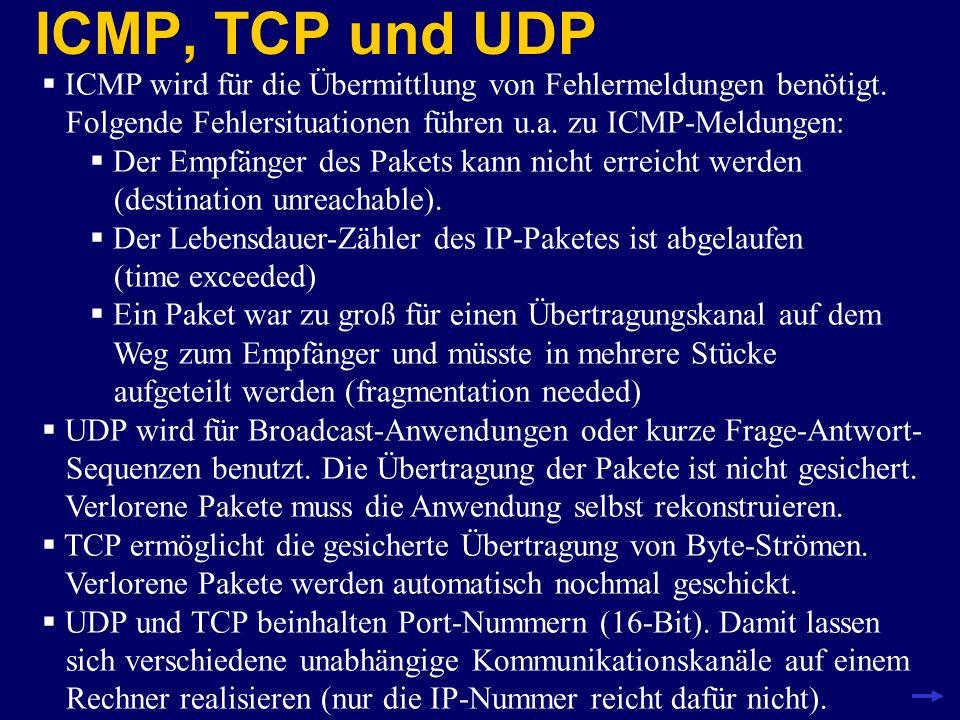 ICMP, TCP und UDP ICMP wird für die Übermittlung von Fehlermeldungen benötigt. Folgende Fehlersituationen führen u.a. zu ICMP-Meldungen: Der Empfänger