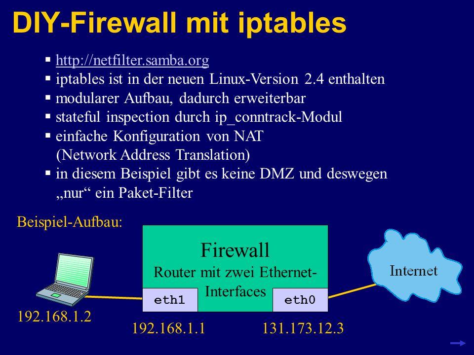 DIY-Firewall mit iptables http://netfilter.samba.org iptables ist in der neuen Linux-Version 2.4 enthalten modularer Aufbau, dadurch erweiterbar state
