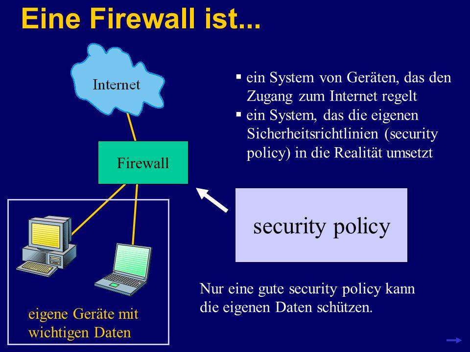 Eine Firewall ist... Firewall eigene Geräte mit wichtigen Daten ein System von Geräten, das den Zugang zum Internet regelt ein System, das die eigenen