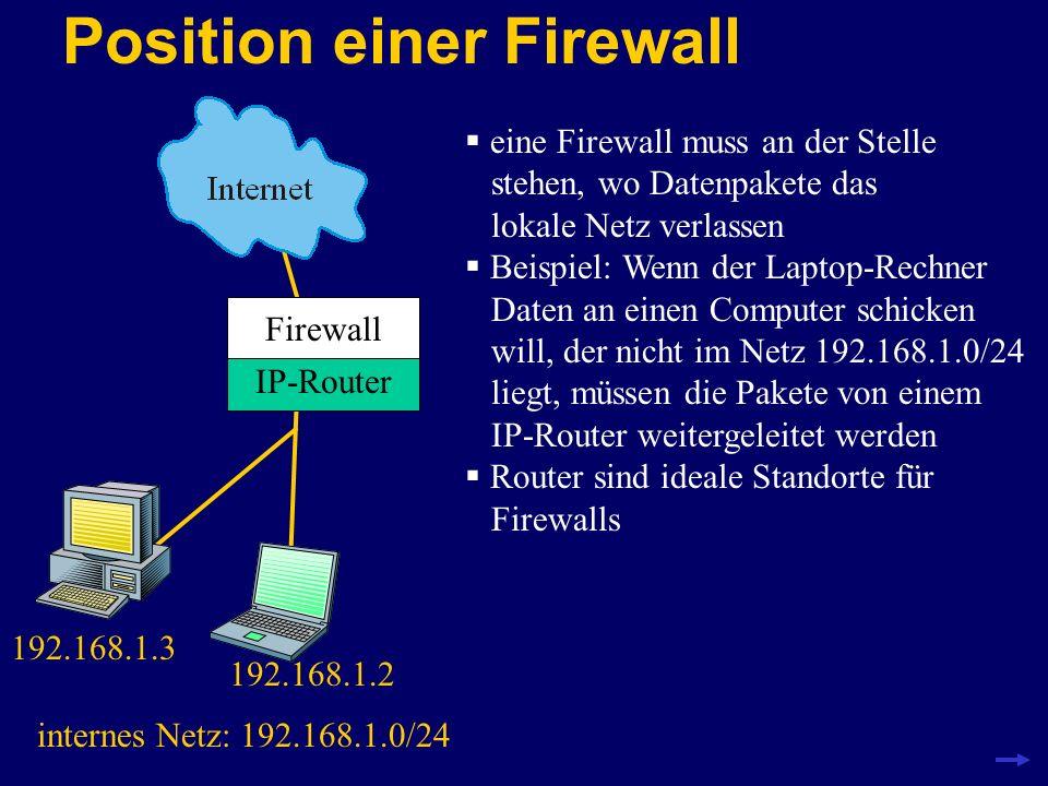 Position einer Firewall IP-Router 192.168.1.3 192.168.1.2 internes Netz: 192.168.1.0/24 eine Firewall muss an der Stelle stehen, wo Datenpakete das lo