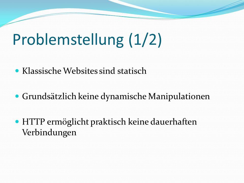 Problemstellung (2/2) Klassisches Web Application Model Client (Browser) Benutzeroberfläche Server-seitige Systeme Server-seitige Systeme Datenbank, andere Systeme Web Server GET .