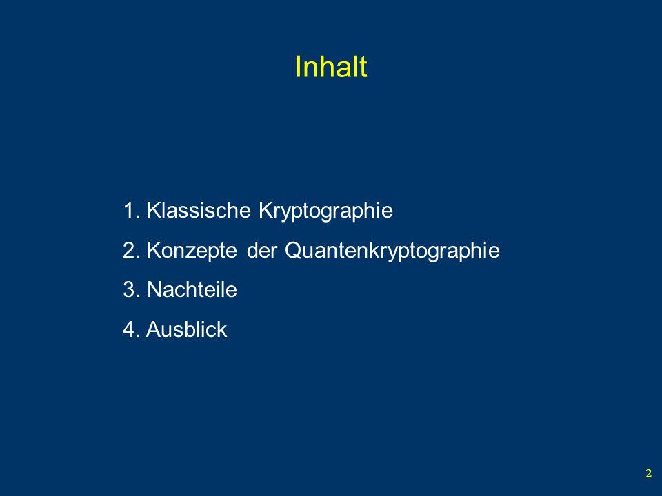 2 Inhalt 1. Klassische Kryptographie 2. Konzepte der Quantenkryptographie 3. Nachteile 4. Ausblick