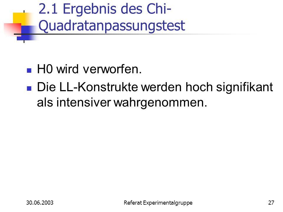 30.06.2003 Referat Experimentalgruppe27 2.1 Ergebnis des Chi- Quadratanpassungstest H0 wird verworfen. Die LL-Konstrukte werden hoch signifikant als i
