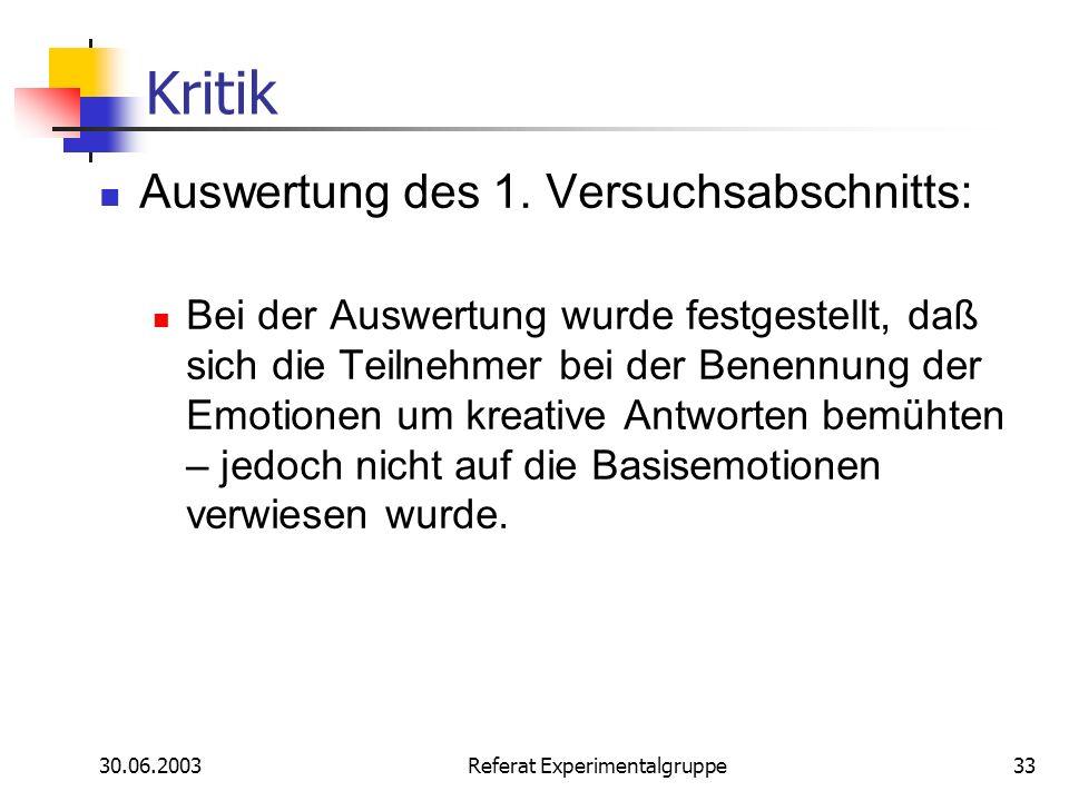 30.06.2003 Referat Experimentalgruppe33 Kritik Auswertung des 1. Versuchsabschnitts: Bei der Auswertung wurde festgestellt, daß sich die Teilnehmer be