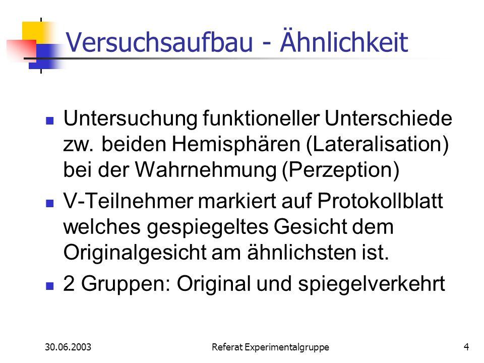 30.06.2003 Referat Experimentalgruppe4 Versuchsaufbau - Ähnlichkeit Untersuchung funktioneller Unterschiede zw. beiden Hemisphären (Lateralisation) be