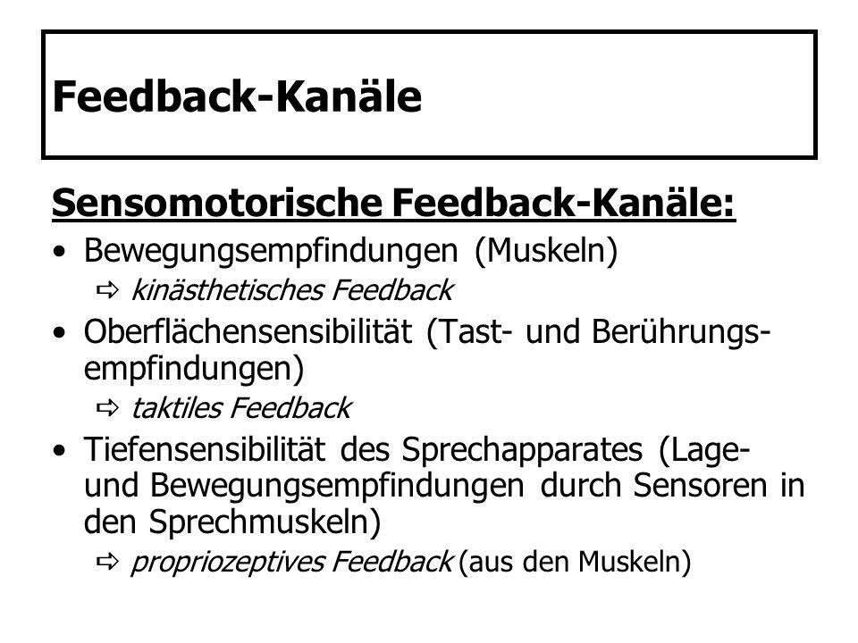 Feedback-Kanäle Sensomotorische Feedback-Kanäle: Bewegungsempfindungen (Muskeln) kinästhetisches Feedback Oberflächensensibilität (Tast- und Berührung