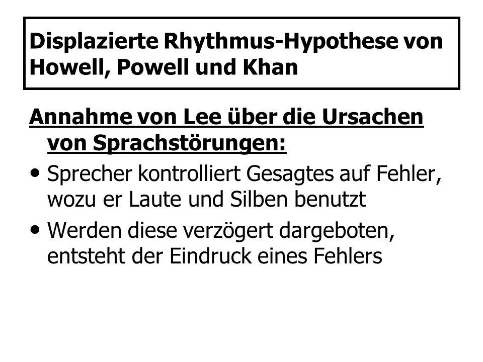 Displazierte Rhythmus-Hypothese von Howell, Powell und Khan Annahme von Lee über die Ursachen von Sprachstörungen: Sprecher kontrolliert Gesagtes auf