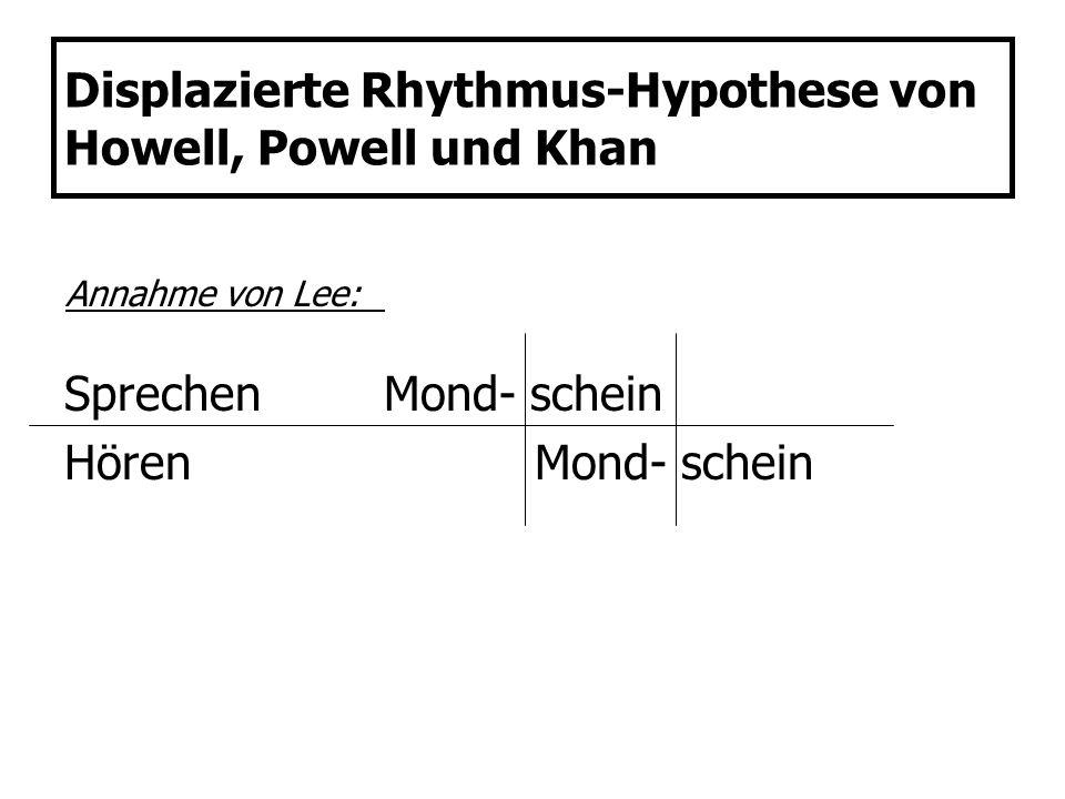Displazierte Rhythmus-Hypothese von Howell, Powell und Khan SprechenMond- schein Hören Mond- schein Annahme von Lee: