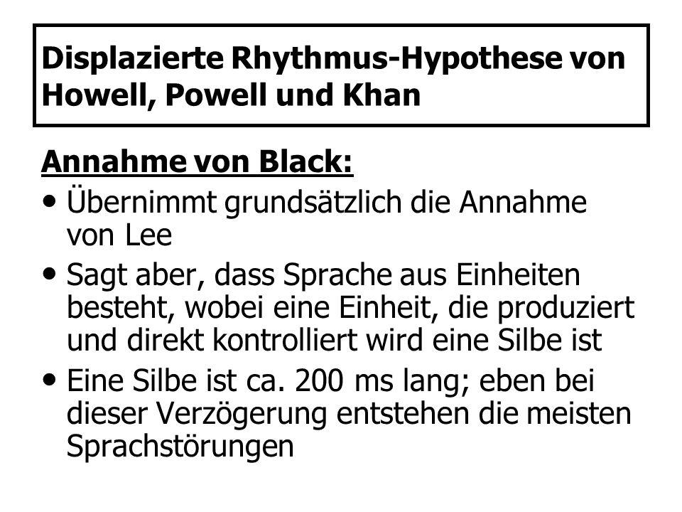 Displazierte Rhythmus-Hypothese von Howell, Powell und Khan Annahme von Black: Übernimmt grundsätzlich die Annahme von Lee Sagt aber, dass Sprache aus