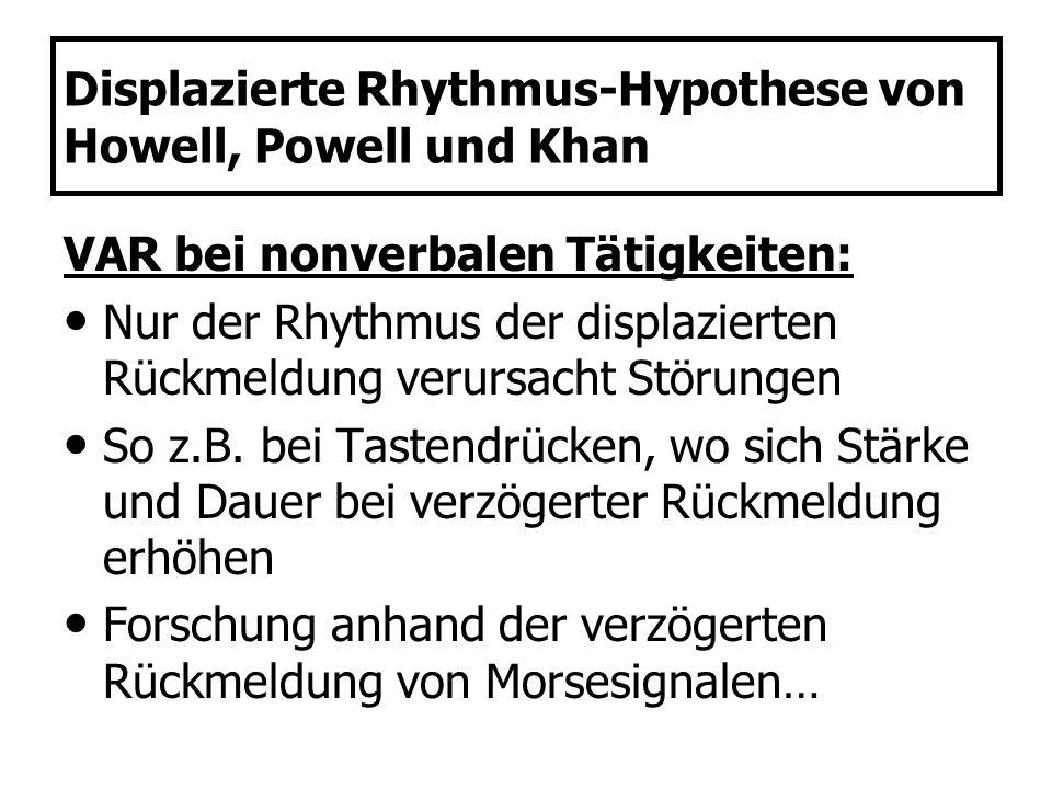 Displazierte Rhythmus-Hypothese von Howell, Powell und Khan VAR bei nonverbalen Tätigkeiten: Nur der Rhythmus der displazierten Rückmeldung verursacht