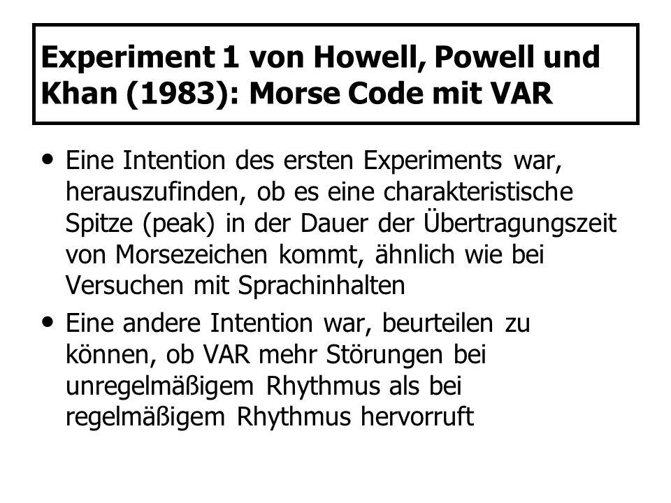 Experiment 1 von Howell, Powell und Khan (1983): Morse Code mit VAR Eine Intention des ersten Experiments war, herauszufinden, ob es eine charakterist