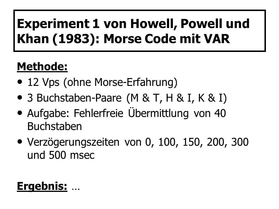 Experiment 1 von Howell, Powell und Khan (1983): Morse Code mit VAR Methode: 12 Vps (ohne Morse-Erfahrung) 3 Buchstaben-Paare (M & T, H & I, K & I) Au