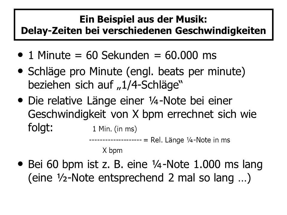 Ein Beispiel aus der Musik: Delay-Zeiten bei verschiedenen Geschwindigkeiten 1 Minute = 60 Sekunden = 60.000 ms Schläge pro Minute (engl. beats per mi