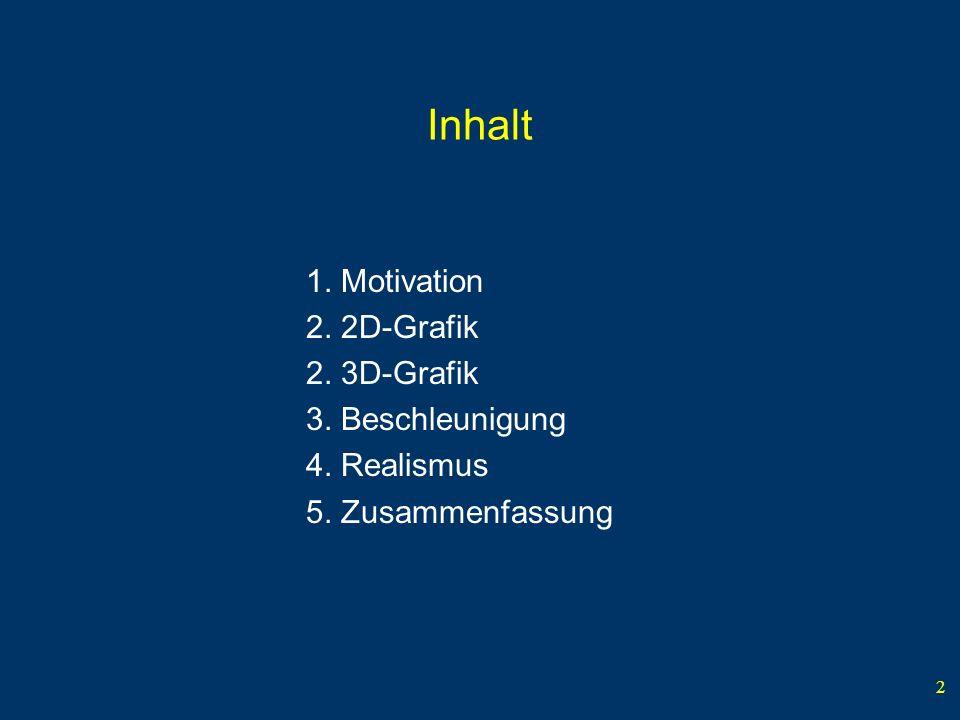 2 Inhalt 1. Motivation 2. 2D-Grafik 2. 3D-Grafik 3. Beschleunigung 4. Realismus 5. Zusammenfassung