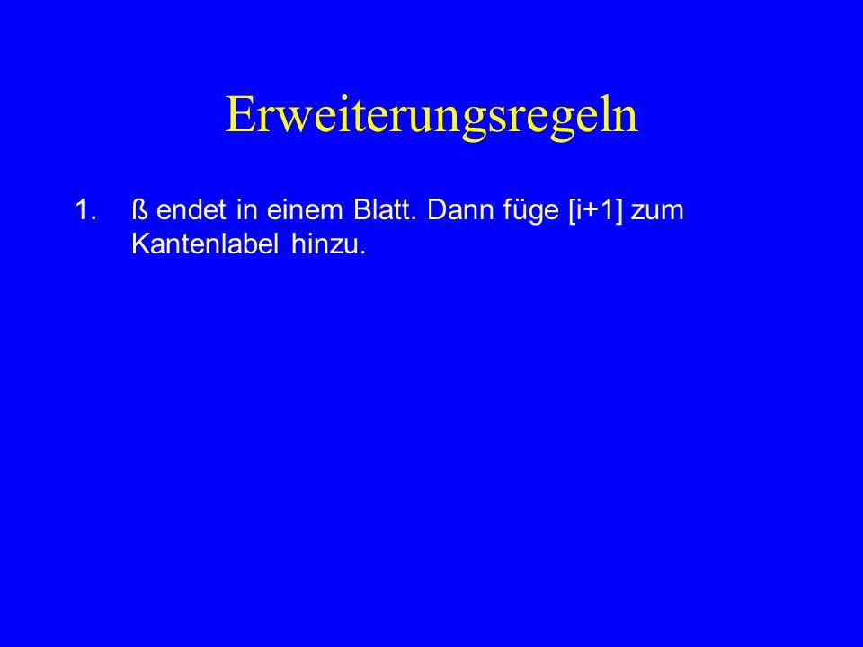 Erweiterungsregeln 1.ß endet in einem Blatt.Dann füge [i+1] zum Kantenlabel hinzu.