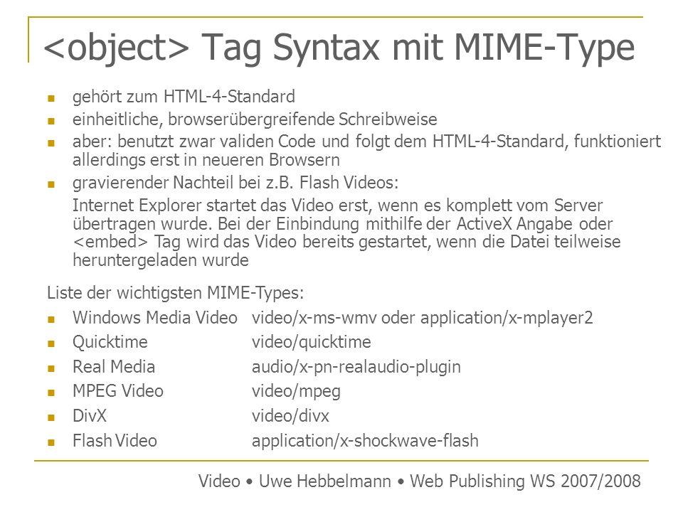 Tag Syntax mit MIME-Type gehört zum HTML-4-Standard einheitliche, browserübergreifende Schreibweise aber: benutzt zwar validen Code und folgt dem HTML-4-Standard, funktioniert allerdings erst in neueren Browsern gravierender Nachteil bei z.B.