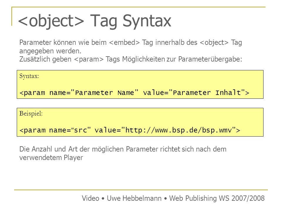 Tag Syntax Syntax: Parameter können wie beim Tag innerhalb des Tag angegeben werden.