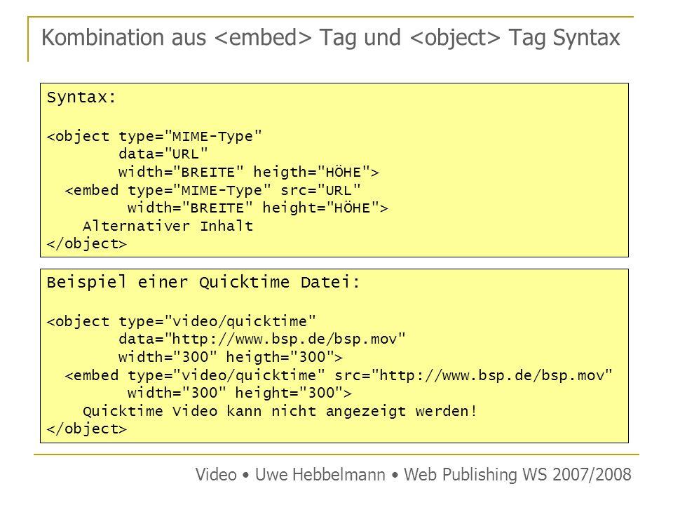 Kombination aus Tag und Tag Syntax Video Uwe Hebbelmann Web Publishing WS 2007/2008 Syntax: <object type= MIME-Type data= URL width= BREITE heigth= HÖHE > <embed type= MIME-Type src= URL width= BREITE height= HÖHE > Alternativer Inhalt Beispiel einer Quicktime Datei: <object type= video/quicktime data= http://www.bsp.de/bsp.mov width= 300 heigth= 300 > <embed type= video/quicktime src= http://www.bsp.de/bsp.mov width= 300 height= 300 > Quicktime Video kann nicht angezeigt werden!