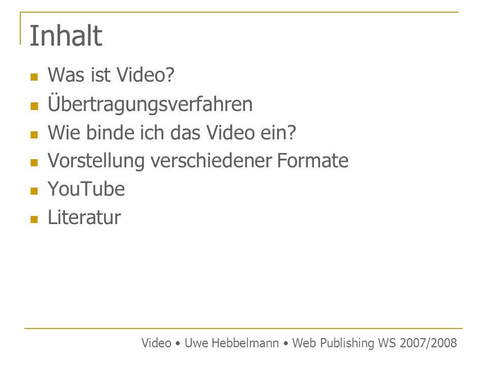Tag Syntax mit MIME-Type Video Uwe Hebbelmann Web Publishing WS 2007/2008 Syntax: <object type= MIME-Type data= URL width= BREITE heigth= HÖHE > Alternativer Inhalt Beispiel einer Quicktime Datei: <object type= video/quicktime data= http://www.bsp.de/beispiel.mov height= 300 width= 300 > Quicktime Video kann nicht angezeigt werden.