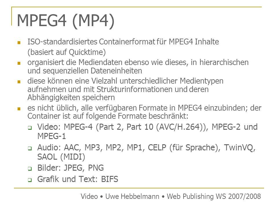 MPEG4 (MP4) ISO-standardisiertes Containerformat für MPEG4 Inhalte (basiert auf Quicktime) organisiert die Mediendaten ebenso wie dieses, in hierarchischen und sequenziellen Dateneinheiten diese können eine Vielzahl unterschiedlicher Medientypen aufnehmen und mit Strukturinformationen und deren Abhängigkeiten speichern es nicht üblich, alle verfügbaren Formate in MPEG4 einzubinden; der Container ist auf folgende Formate beschränkt: Video: MPEG-4 (Part 2, Part 10 (AVC/H.264)), MPEG-2 und MPEG-1 Audio: AAC, MP3, MP2, MP1, CELP (für Sprache), TwinVQ, SAOL (MIDI) Bilder: JPEG, PNG Grafik und Text: BIFS Video Uwe Hebbelmann Web Publishing WS 2007/2008