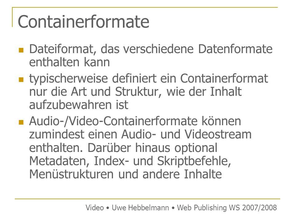 Containerformate Dateiformat, das verschiedene Datenformate enthalten kann typischerweise definiert ein Containerformat nur die Art und Struktur, wie der Inhalt aufzubewahren ist Audio-/Video-Containerformate können zumindest einen Audio- und Videostream enthalten.