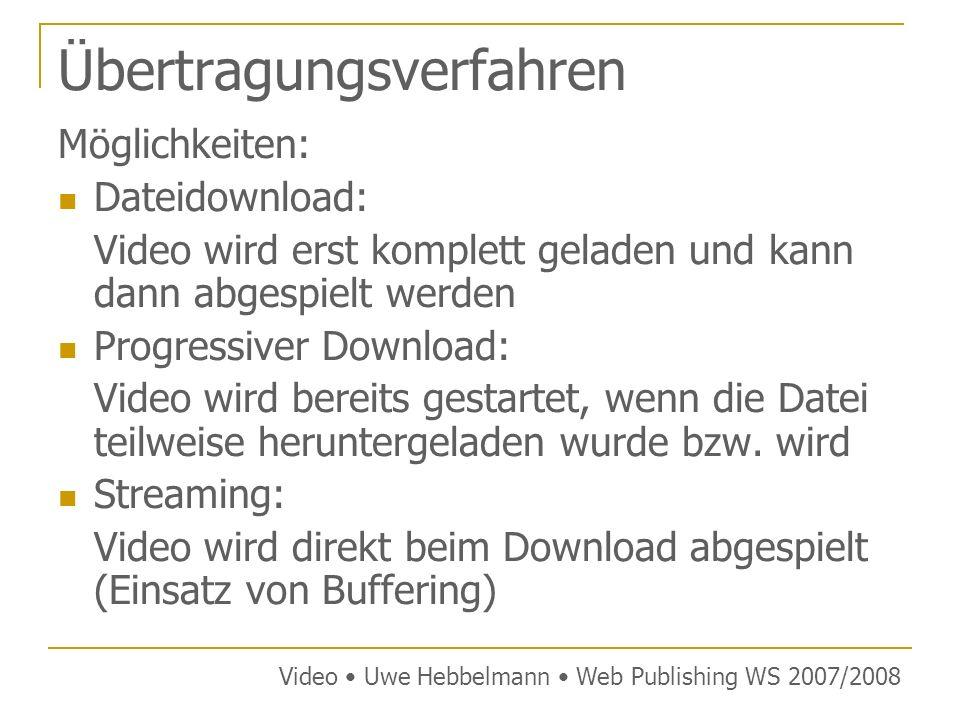 Tag Syntax mit ActiveX Video Uwe Hebbelmann Web Publishing WS 2007/2008 Die ClassID/CodeBase der wichtigsten Player: Windows Media ClassIDCLSID:22D6f312-B0F6-11D0-94AB-0080C74C7E95 CodeBasehttp://activex.microsoft.com/activex/controls/mplayer/ en/nsmp2inf.cab#Version=6,4,7,1112 QuicktimeClassIDCLSID:02BF25D5-8C17-4B23-BC80-D3488ABDDC6B CodeBasehttp://www.apple.com/qtactivex/qtplugin.cab Real MediaClassIDCLSID:CFCDAA03-8BE4-11cf-B84B-0020AFBBCCFA DivXClassIDCLSID:67DABFBF-D0AB-41fa-9C46-CC0F21721616 CodeBasehttp://go.divx.com/plugin/DivXBrowserPlugin.cab Flash VideoClassIDCLSID:d27cdb6e-ae6d-11cf-96b8-444553540000 CodeBasehttp://fpdownload.macromedia.com/pub/shockwave/ cabs/flash/swflash.cab#version=8,0,0,0 Microsoft-Methode wird daher nicht von allen Browsern unterstützt