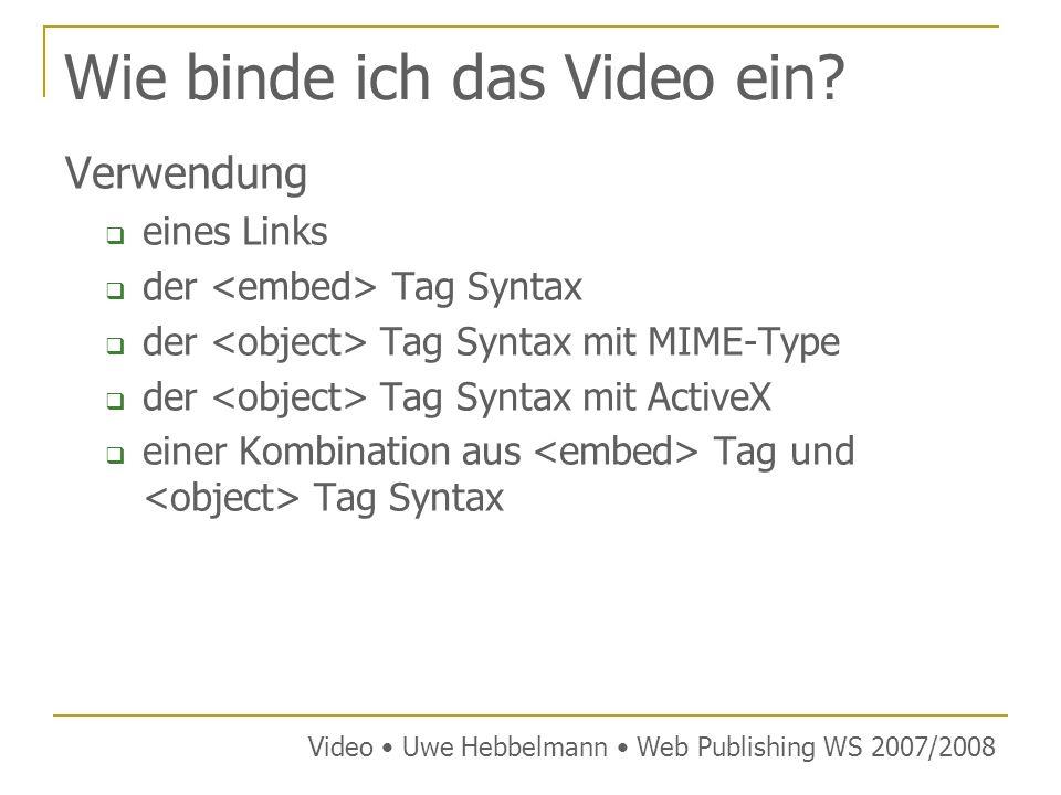 Verwendungs eines Links einfachste Methode, dafür aber nicht sehr elegant Video-Datei kann gespeichert werden oder über einen externen Player in einem eigenen Fenster geöffnet werden Video Uwe Hebbelmann Web Publishing WS 2007/2008 Syntax: LINK Beispiel einer WMV Datei: WMV Video